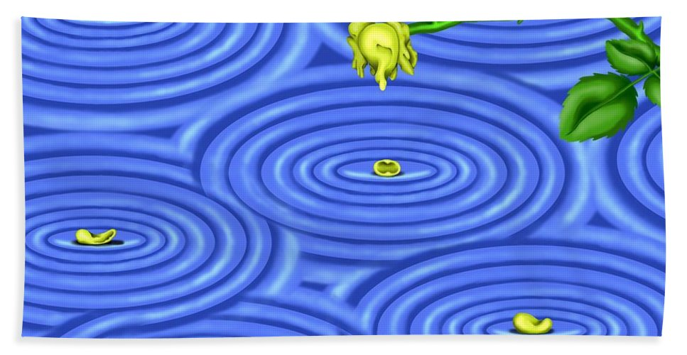Surrealism Bath Towel featuring the digital art Petals on Water III by Robert Morin