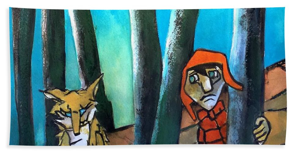 Bath Sheet featuring the painting Peter And The Wolf by Michael Rome