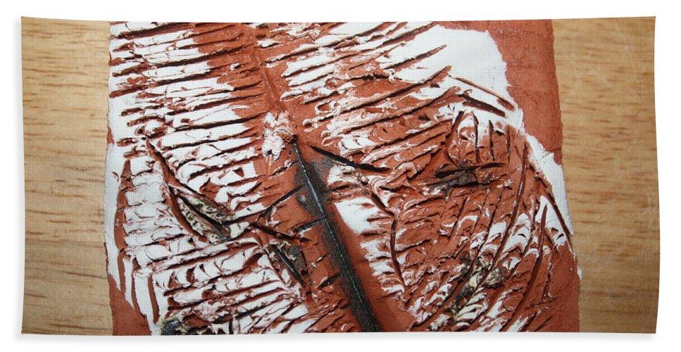 Jesus Bath Sheet featuring the ceramic art Peter N Katie - Tile by Gloria Ssali