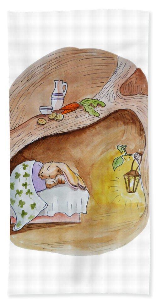 Peter Rabbit Hand Towel featuring the painting Peter Rabbit by Irina Sztukowski