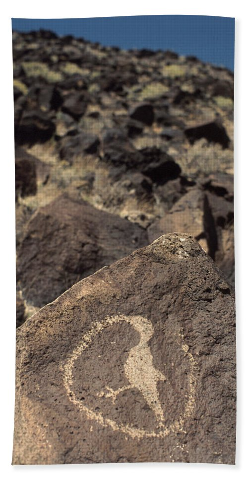 Petroglyph Hand Towel featuring the photograph Petroglyph by Jerry McElroy
