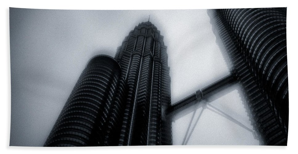 Architecture Hand Towel featuring the photograph Petronas Towers by Dave Bowman
