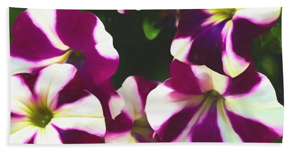 Flowers Bath Sheet featuring the mixed media Petunias With A Flare by Debra Lynch