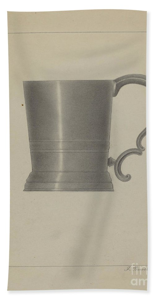 Hand Towel featuring the drawing Pewter Mug by Filippo Porreca