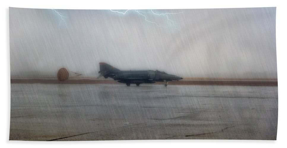Mcdonnell Douglas F-4 Phantom Ii Bath Sheet featuring the photograph Phantom In The Storm by Tommy Anderson