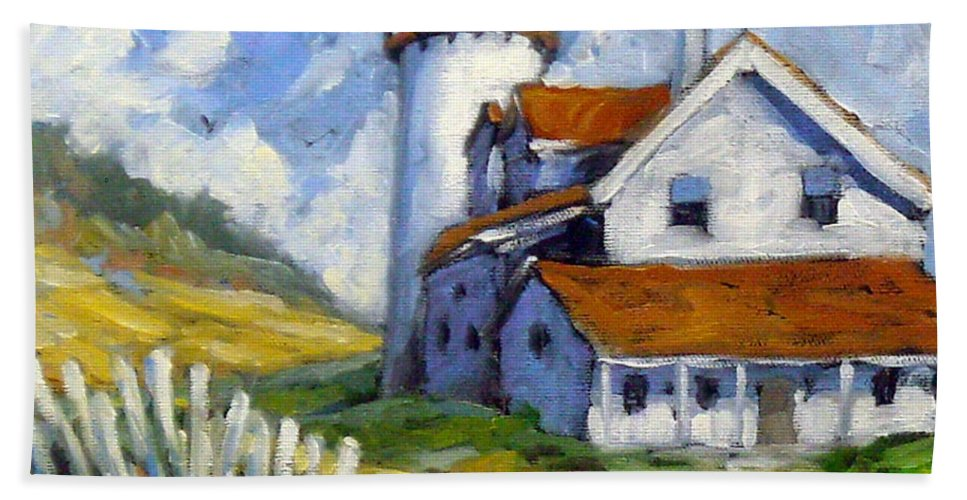 Art For Sale; Seascape Hand Towel featuring the painting Phare 005 by Richard T Pranke