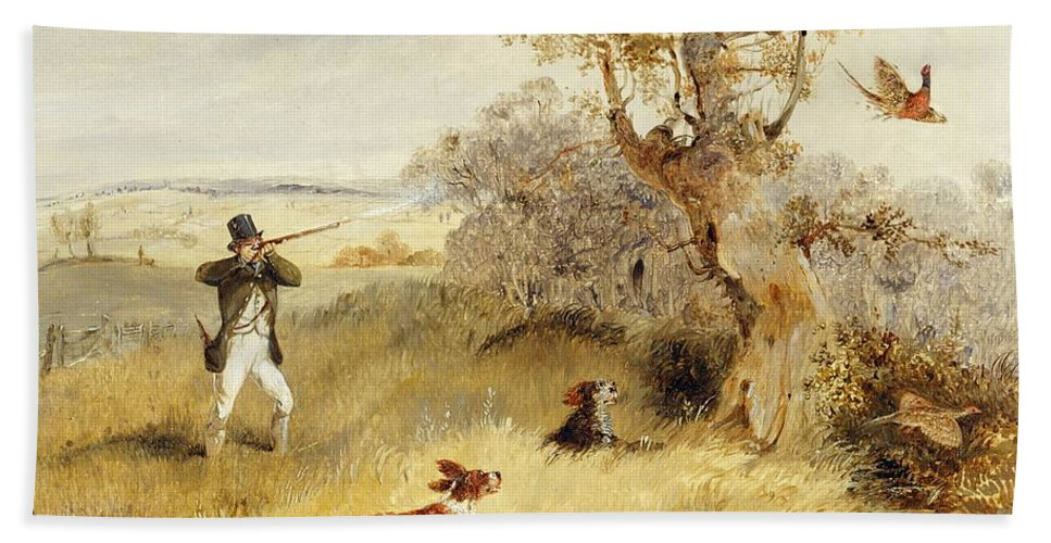 Pheasant Bath Sheet featuring the painting Pheasant Shooting by Henry Thomas Alken