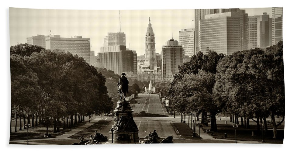 Philadelphia Bath Sheet featuring the photograph Philadelphia Benjamin Franklin Parkway In Sepia by Bill Cannon