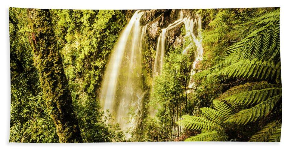 Falls Bath Towel featuring the photograph Philosopher Falls, Western Tasmania by Jorgo Photography - Wall Art Gallery