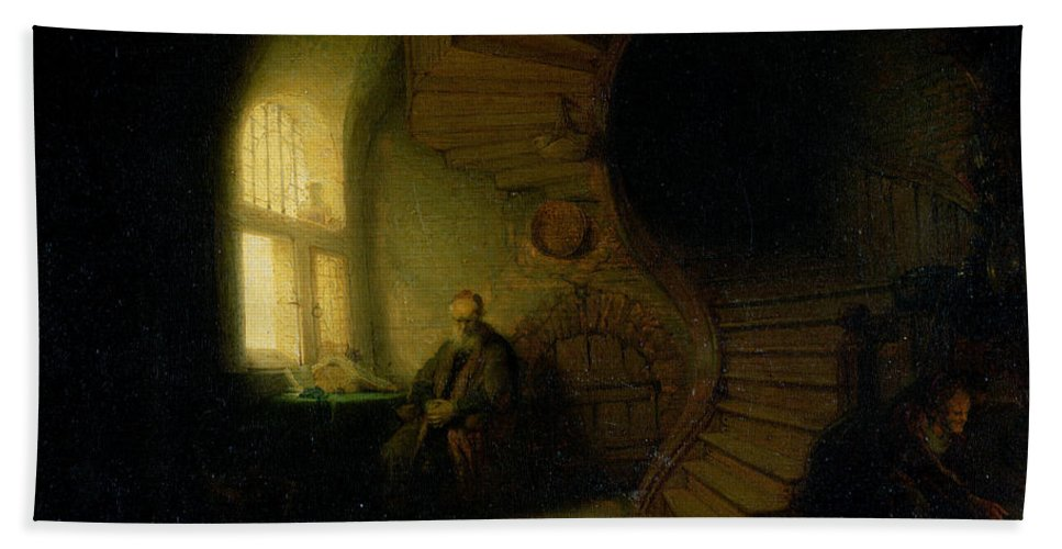 Philosopher Bath Towel featuring the painting Philosopher In Meditation by Rembrandt