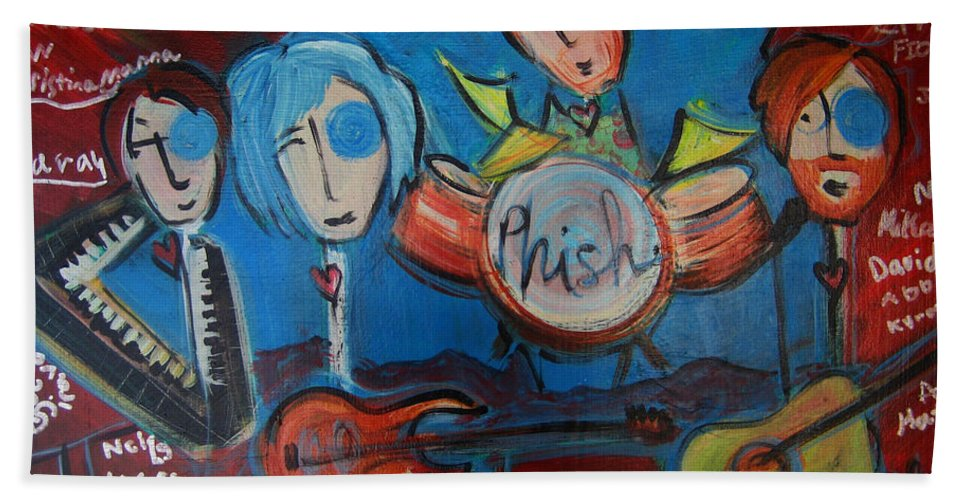 Painting Hand Towel featuring the painting Phish For Red Rocks Amphitheater by Laurie Maves ART