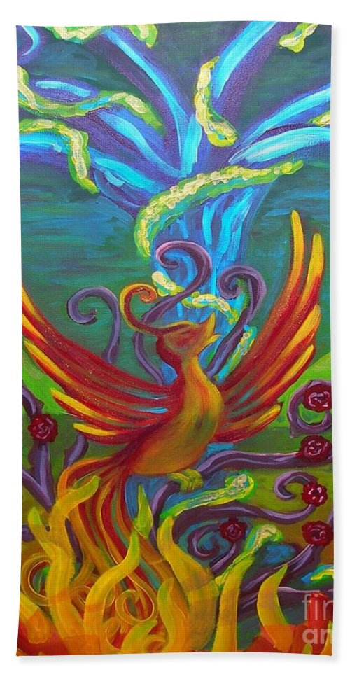 Phoenix Bird Bath Sheet featuring the painting Phoenix Bird by Morgan Leshinsky