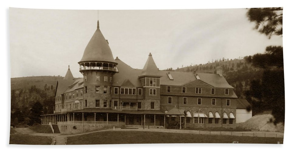 John K. Hillers Bath Sheet featuring the photograph Phoenix Hotel Las Vegas Hot Springs New Mexico 1890 by California Views Archives Mr Pat Hathaway Archives