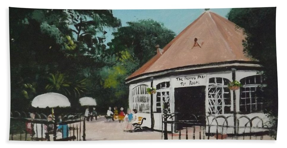 Phoenix Park Hand Towel featuring the painting Phoenix Park Tearooms by Tony Gunning