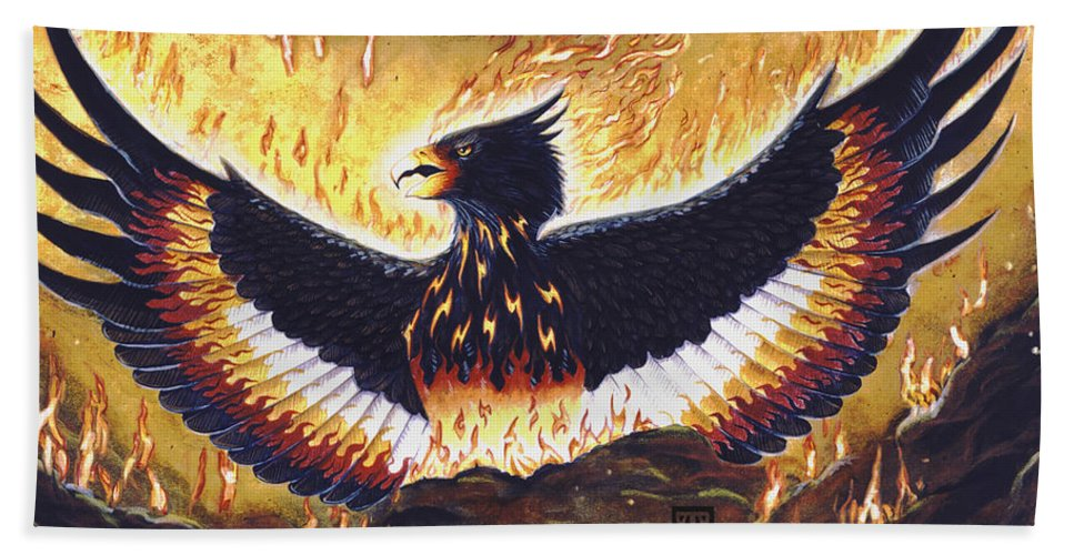 Phoenix Bath Sheet featuring the painting Phoenix Rising by Melissa A Benson