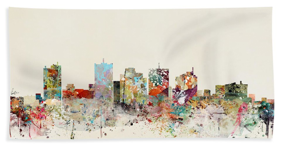 Phoenix Hand Towel featuring the painting Phoenix Skyline by Bri Buckley