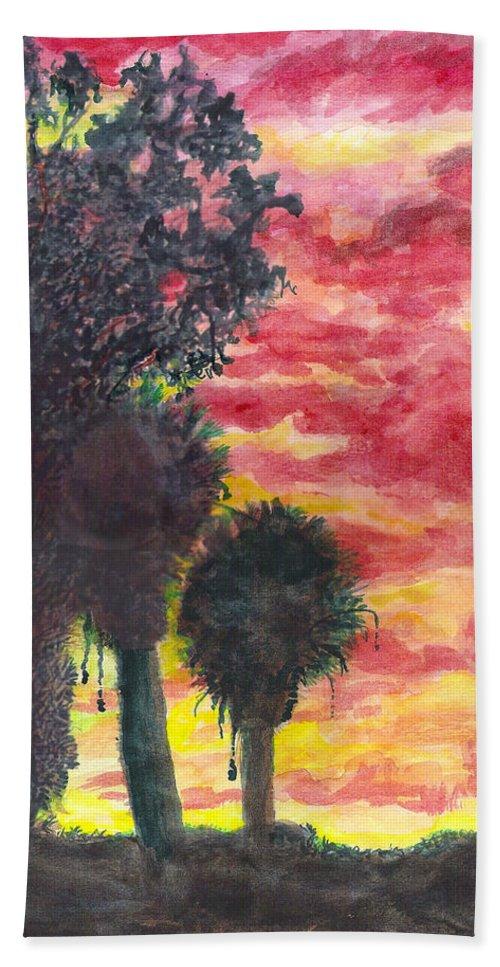 Phoenix Bath Sheet featuring the painting Phoenix Sunset by Eric Samuelson