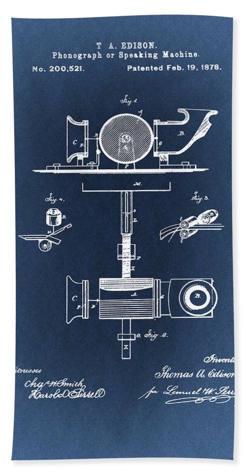 Thomas Edison Bath Towel featuring the drawing Phonograph Patent From 1878 Blueprint by Art Spectrum