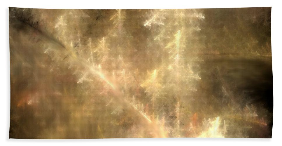 Abstract Digital Painting Bath Towel featuring the digital art Phosphorescent Forest by David Lane