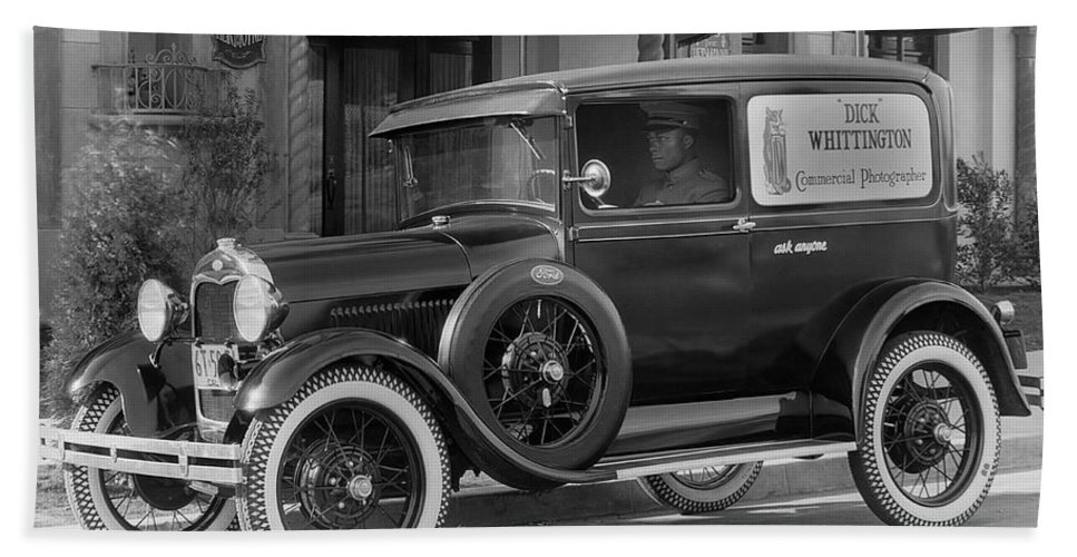 1 Person Hand Towel featuring the photograph Photographer's 1928 Truck by Underwood Archives