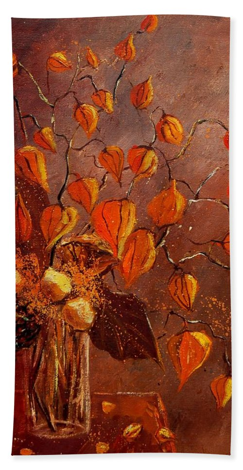Poppies Hand Towel featuring the painting Physialis by Pol Ledent