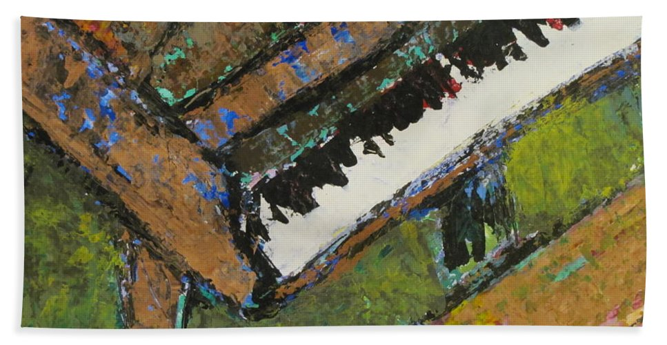 Piano Hand Towel featuring the painting Piano Close Up 1 by Anita Burgermeister