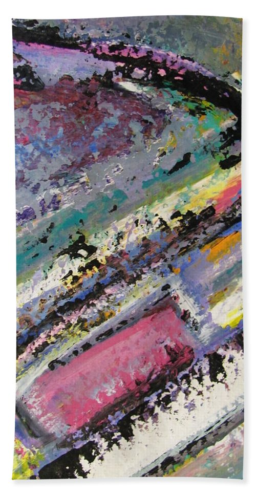 Piano Bath Sheet featuring the painting Piano close up 2 by Anita Burgermeister