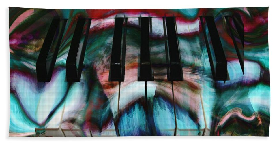 Abstract Art Hand Towel featuring the digital art Piano Colors by Linda Sannuti