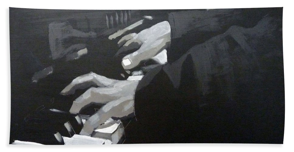 Piano Bath Towel featuring the painting Piano Hands by Richard Le Page