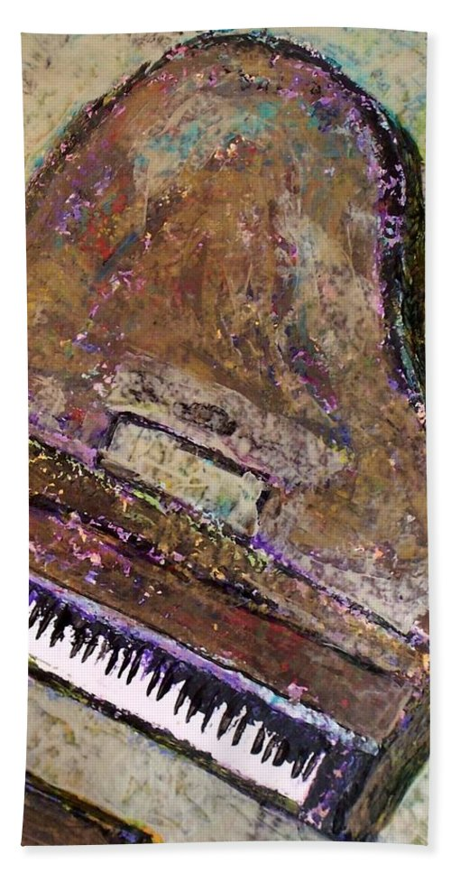 Piano Bath Towel featuring the painting Piano In Bronze by Anita Burgermeister