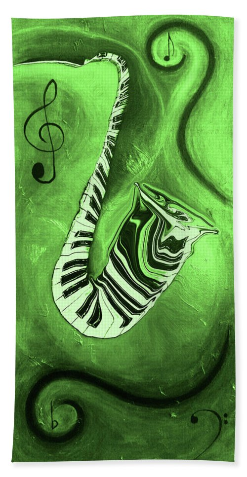 Piano Keys In A Saxophone Green Music In Motion Hand Towel featuring the mixed media Piano Keys In A Saxophone Green Music In Motion by Wayne Cantrell