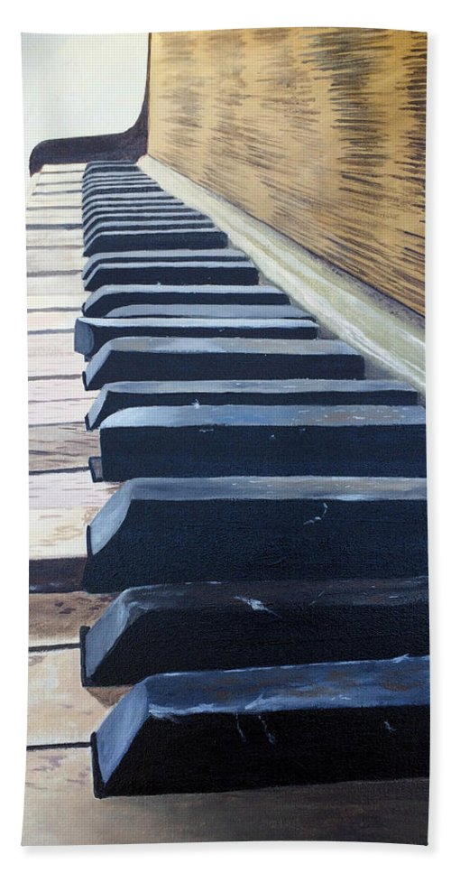 Art Hand Towel featuring the painting Piano Perspective by Dustin Miller