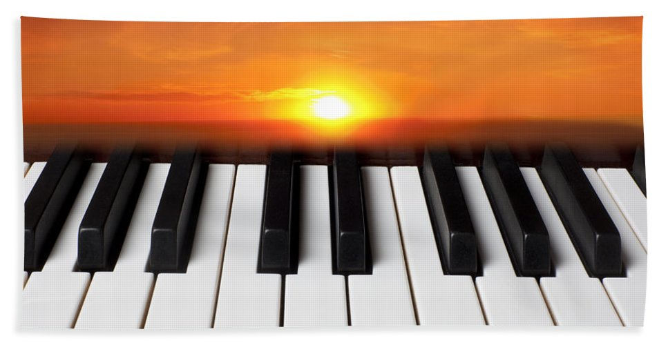 Piano Keys Bath Sheet featuring the photograph Piano Sunset by Garry Gay