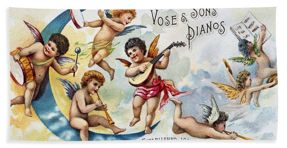 1880s Hand Towel featuring the photograph Piano Trade Card, C1880 by Granger