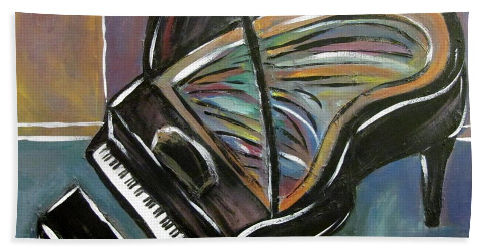 Impressionist Bath Towel featuring the painting Piano With High Heel by Anita Burgermeister