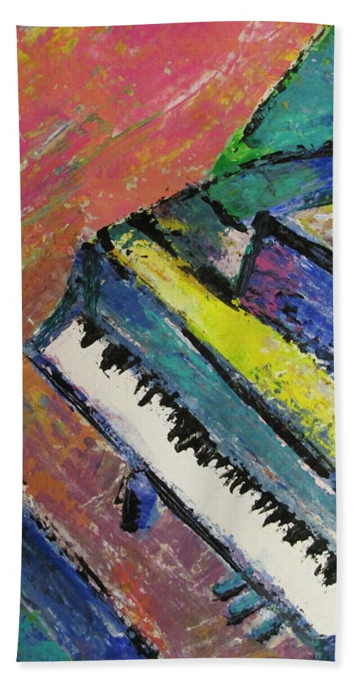 Music Hand Towel featuring the painting Piano With Yellow by Anita Burgermeister