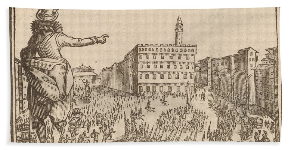 Hand Towel featuring the drawing Piazza Della Signoria, Florence by Edouard Eckman After Jacques Callot
