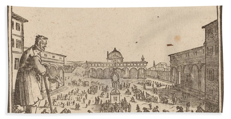 Hand Towel featuring the drawing Piazza Ss. Annunziata, Florence by Edouard Eckman After Jacques Callot