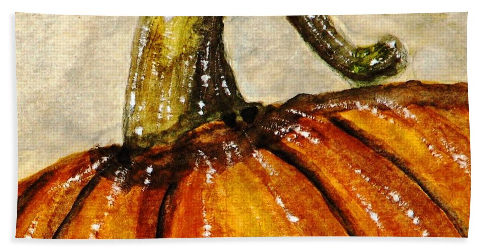 Pumpkins Hand Towel featuring the painting Pick A Pumpkin by Angela Davies