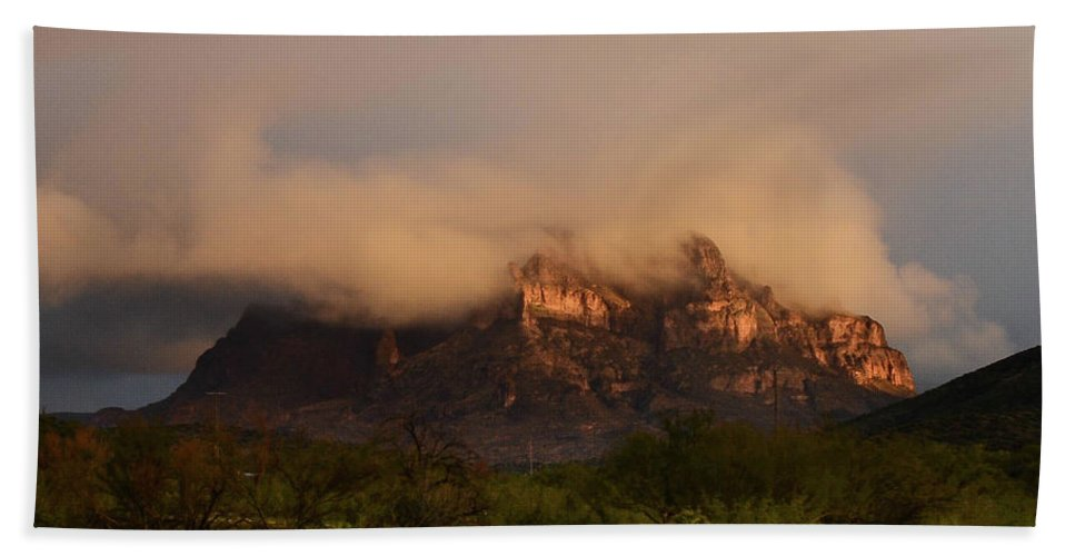 Mountain Bath Sheet featuring the photograph Picket Post Sun Ray Clouds by Katie Brown