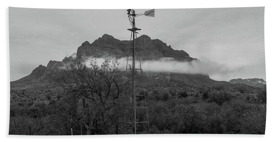 Windmill Bath Sheet featuring the photograph Picket Post Windmill Bw by Katie Brown