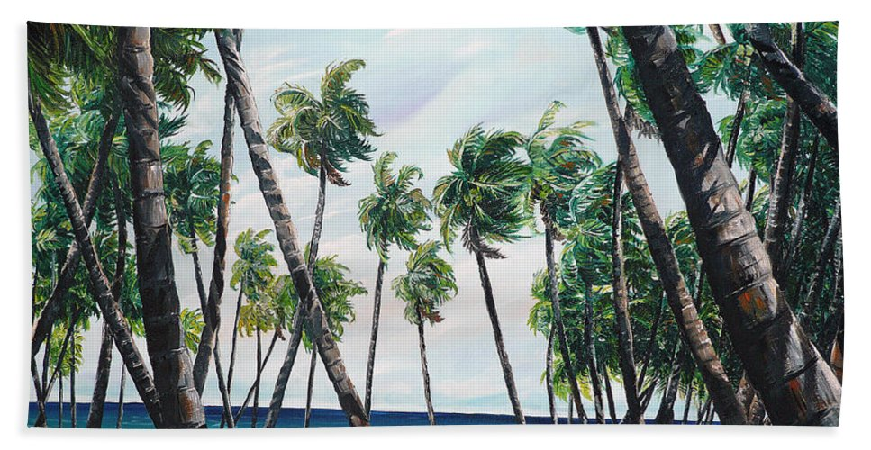 Beach Paintings Ocean Paintings  Caribbean Paintings Coconuts Paintings Tropical Paintings Truck Paintings Sea Paintings Trinidad And Tobago Paintings Tropical Paintings. Greeting Card Paintings Canvas Print Paintings Poster Paintings Bath Towel featuring the painting Picking Coconuts .. Mayaro by Karin Dawn Kelshall- Best