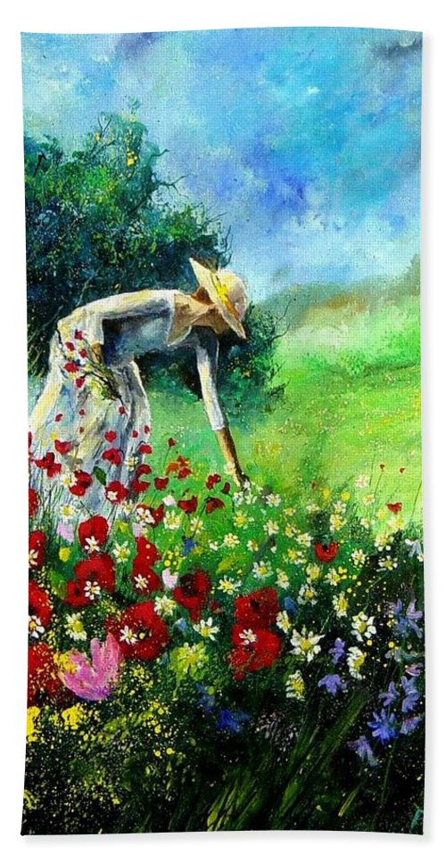 Poppies Bath Towel featuring the painting Picking Flower by Pol Ledent