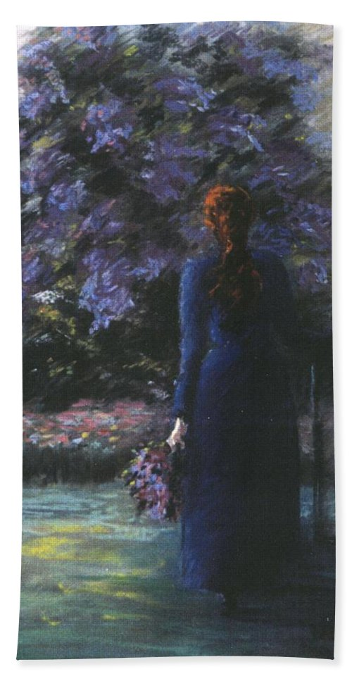 Woman Lilac Flower Tree Hand Towel featuring the pastel Picking Lilacs by Roger Snook