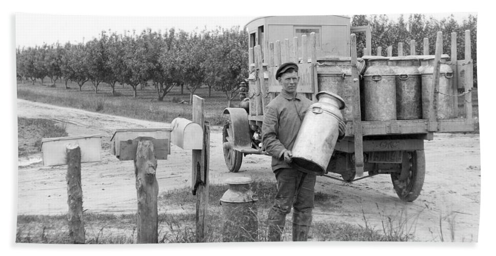 1 Person Hand Towel featuring the photograph Picking Up Milk Cans by Underwood Archives