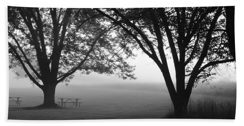 Fog Hand Towel featuring the photograph Picnic In The Fog by Lauri Novak