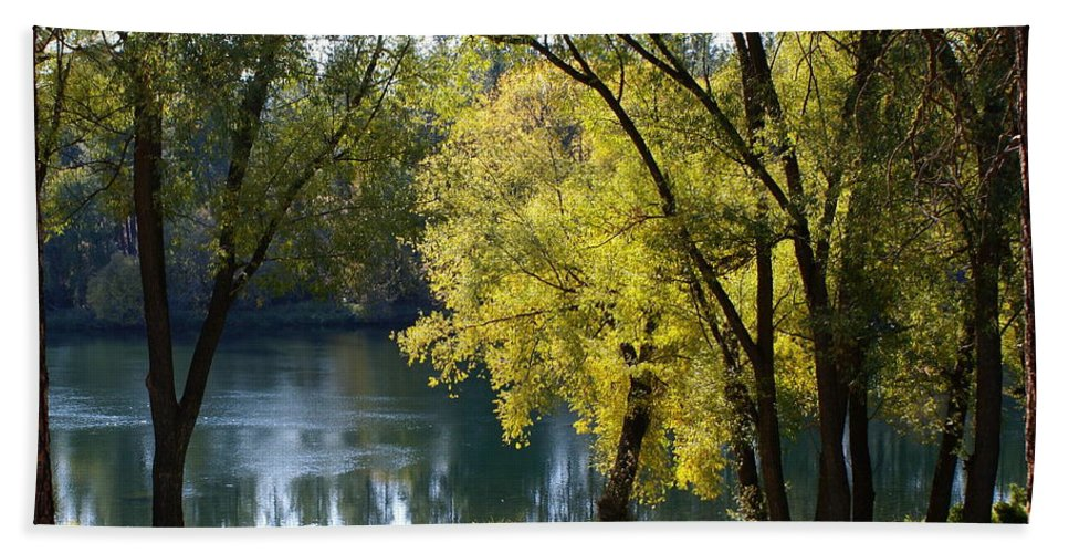 Nature Hand Towel featuring the photograph Picnic Spot On Spokane River by Ben Upham III