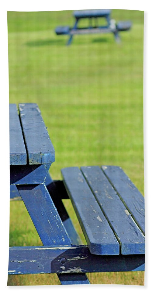 Picnic Hand Towel featuring the photograph Picnic Tables by Brian Pflanz