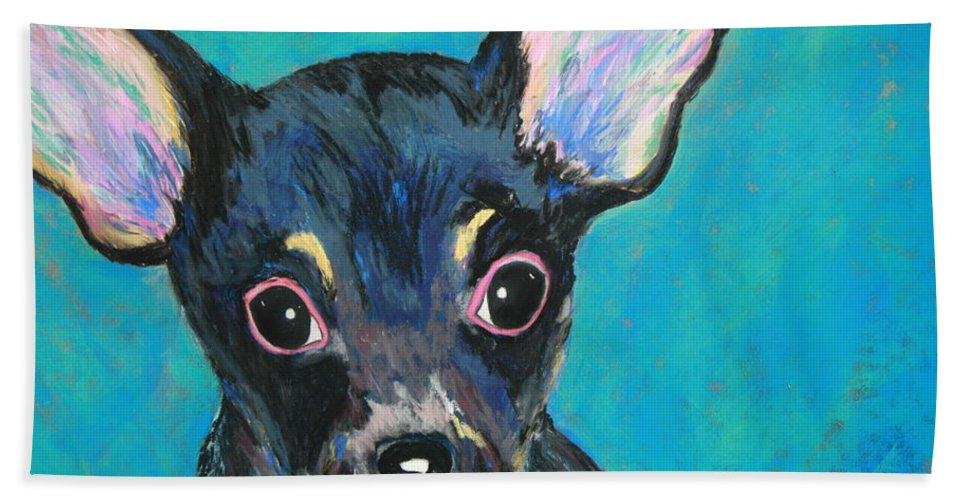 Dog Bath Sheet featuring the painting Pico by Melinda Etzold