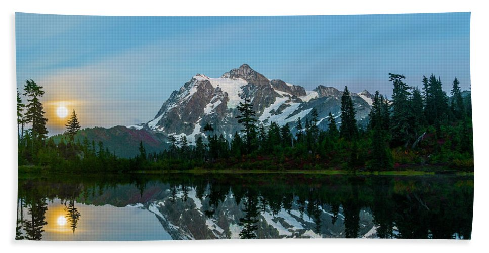 Mountain Hand Towel featuring the photograph Picture Lake At Night by Christopher Swafford